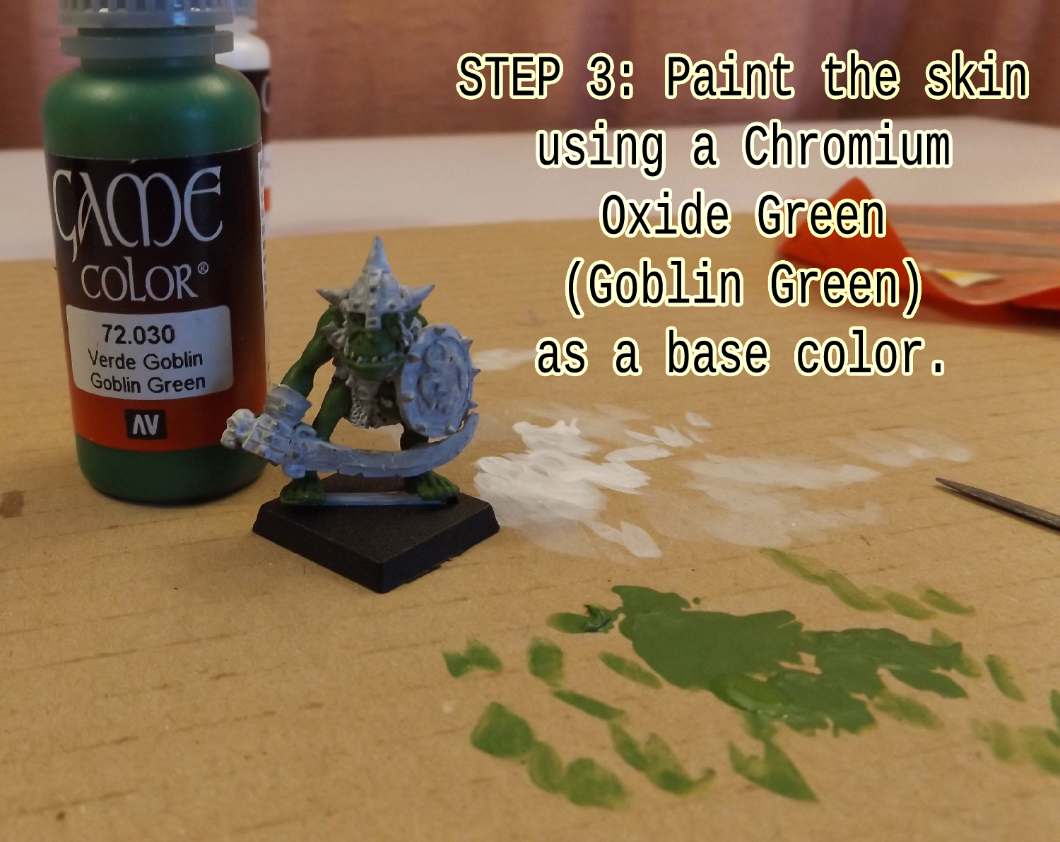 Paint the skin using Chromium Oxide Green (Goblin Green) to serve as a base colour.