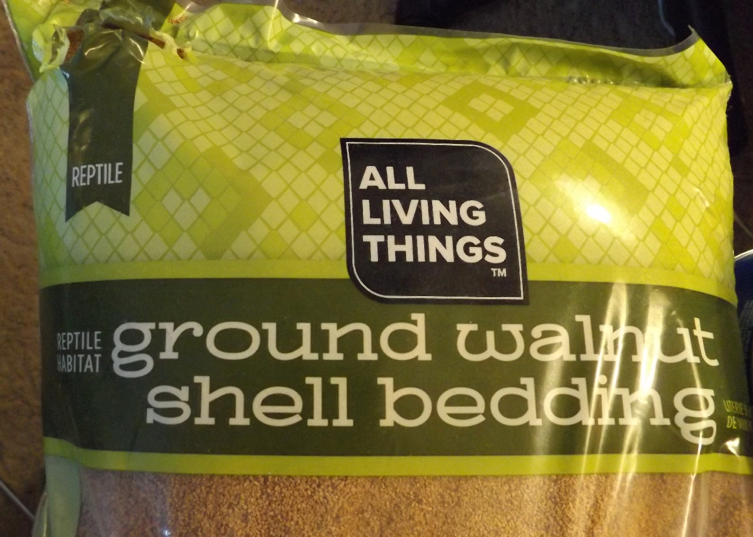 Walnut Shell Bedding makes good fake ground material for minis.