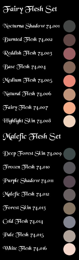 Swatches that I made from the digital ones provided on Nocturna website.